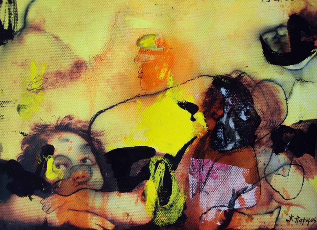 l'amour est un crime parfait,25x45cm,watercolors on linen.