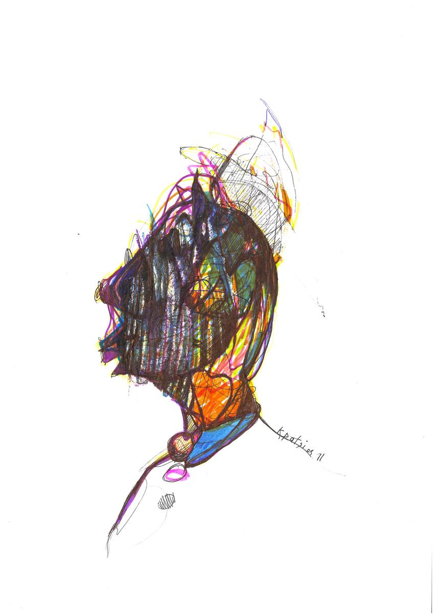 l'idiot du village,22x30cm,ink on paper.