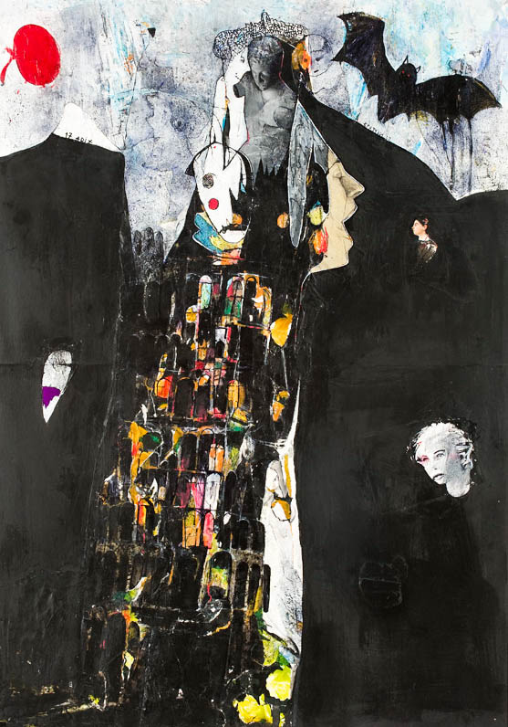 Le tour de Babel,70x100cm,mixed media on paper