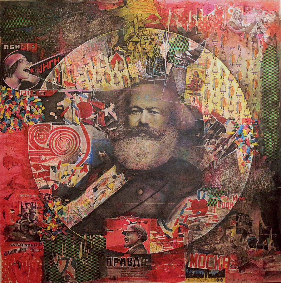 L' homme qui aimait jouer aux cartes, 150x150cm, mixed media on canvas